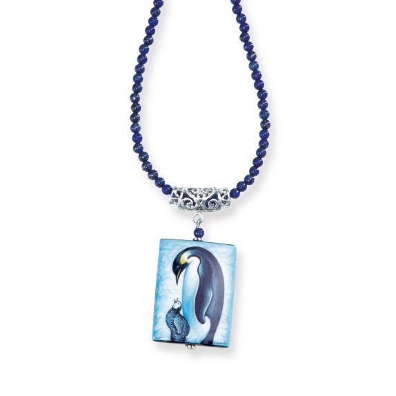 Hand painted penguin pendant russian miniature necklace uno alla volta aloadofball Images