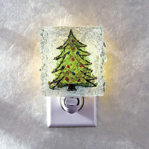 recycled glass christmas tree nightlight home dcor uno alla volta - Glass Christmas Trees