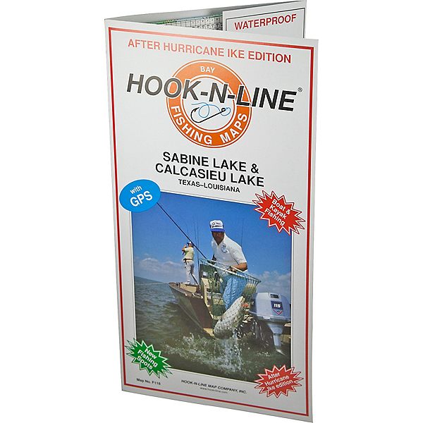 Hook-N-Line Map F118 Sabine Lake & Calcasieu Lake Fishing Map, , 600