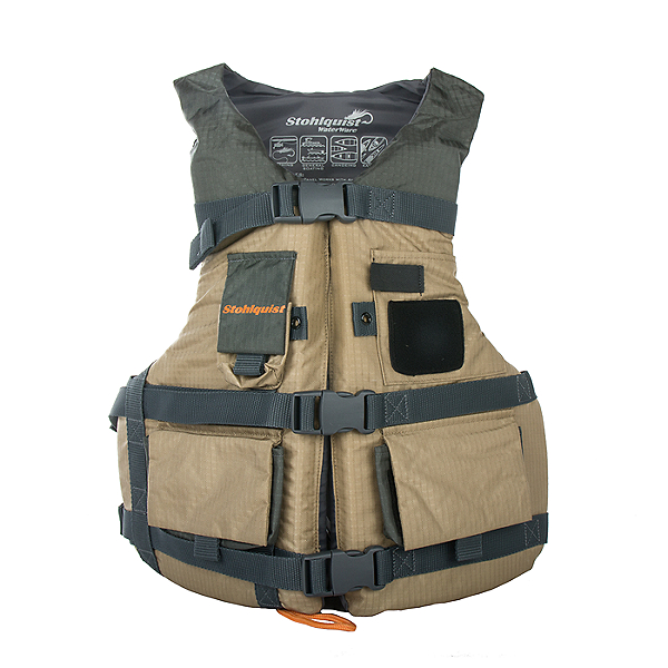 Stohlquist Spinner Youth Fishing PFD - Life Vest, Khaki, 600