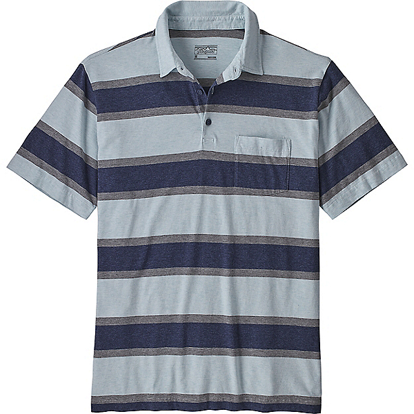 Patagonia Short-Sleeved Squeaky Clean Polo Shirt - Men's - LG/Rugby Stripe Atoll Blue, Rugby Stripe Atoll Blue, 600