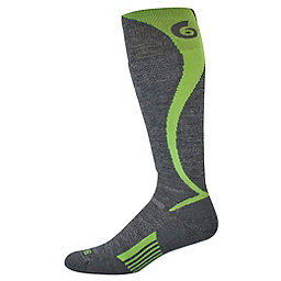 Point6 Ski/Carve Light OTC Sock, Gray-Brightlime, 256