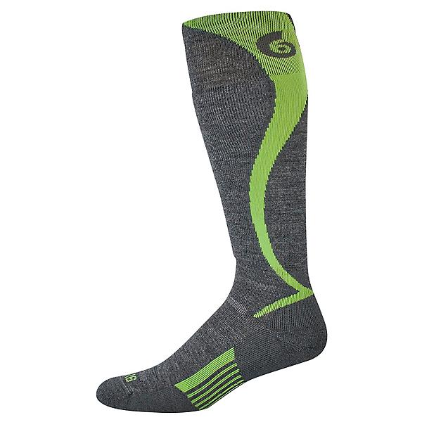 Point6 Ski/Carve Light OTC Sock - LG/Gray-Brightlime, Gray-Brightlime, 600