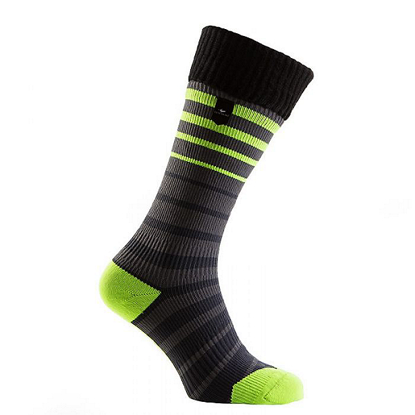 SealSkinz Thin Mid Cuff Socks - Waterproof, Black/Gray/Yellow, 600