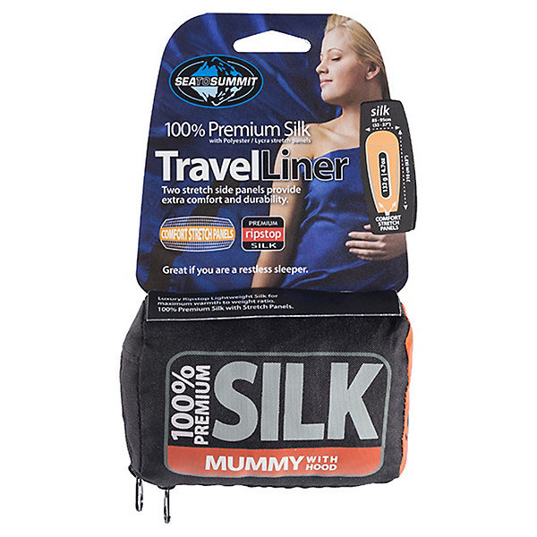 Sea To Summit Premium Silk Travel Liner Mummy w/ Hood - STD/Pacific Blue, Pacific Blue, 600