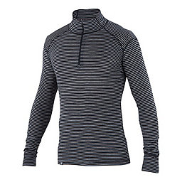 Ibex Woolies 1 Zip Neck, Black-Heather Grey Stripe, 256