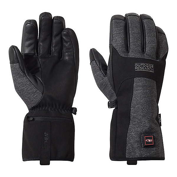 Outdoor Research Oberland Heated Gloves - LG/Black-Charcoal, Black-Charcoal, 600