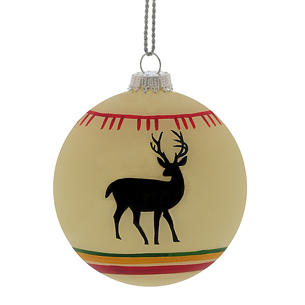 White Deer Blanket Ball Ornament, , 600