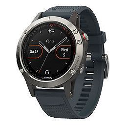 Garmin Fenix 5 Watch, Silver-Granite Blue Band, 256