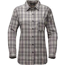 The North Face LS Boyfriend Shirt Women's, TNF Medium Grey Heather Plaid, 256