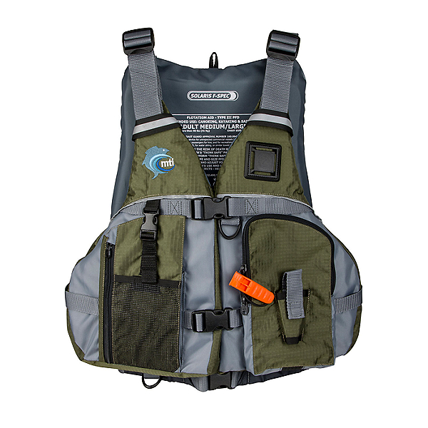 MTI Solaris F-Spec Fishing Life Jacket - PFD, Olive/Gray, 600