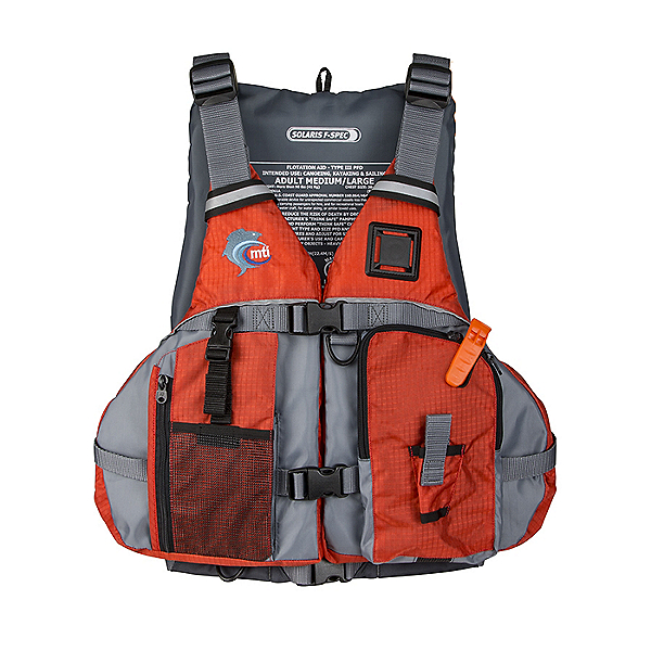 MTI Solaris F-Spec Fishing Life Jacket - PFD Orange/Gray - XS/S, Orange/Gray, 600