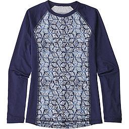 Patagonia Long Sleeve Silk Weight Rashguard Girls', Batik Hex: Classic Navy, 256