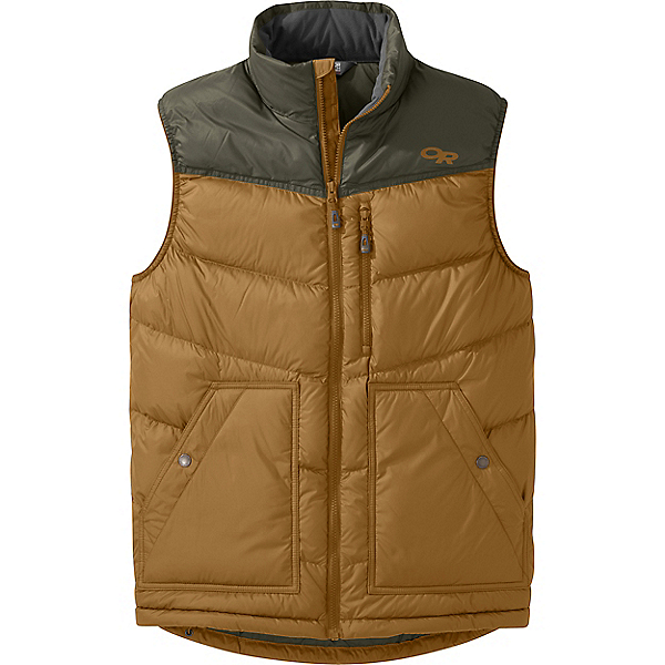 Outdoor Research Transcendent Down Vest - Men's - XL/Ochre-Juniper, Ochre-Juniper, 600