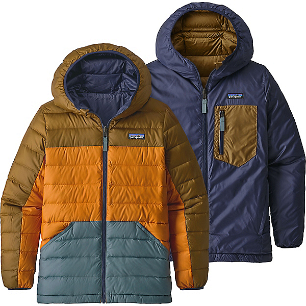 Patagonia Reversible Down Sweater Hoody - Boys' - XL/Coriander Brown, Coriander Brown, 600