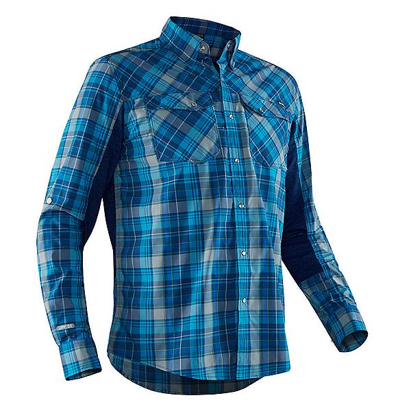 NRS Guide Fishing Shirt Long Sleeve Men Blue Plaid - L, Blue Plaid, 600