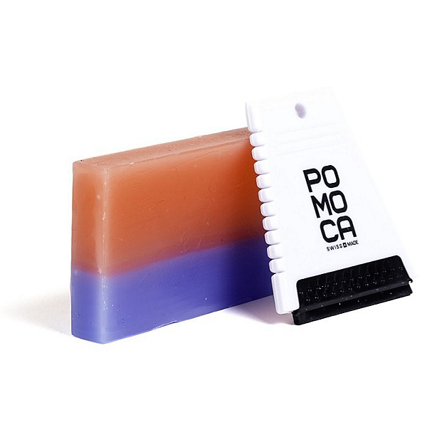 Pomoca Bicolor Climbing Skin Wax w/Mini-Scraper, Red-Blue, 600