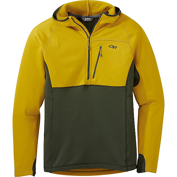 Outdoor Research Vigor Half Zip Hoody - Men's - LG/Turmeric-Forest, Turmeric-Forest, 600