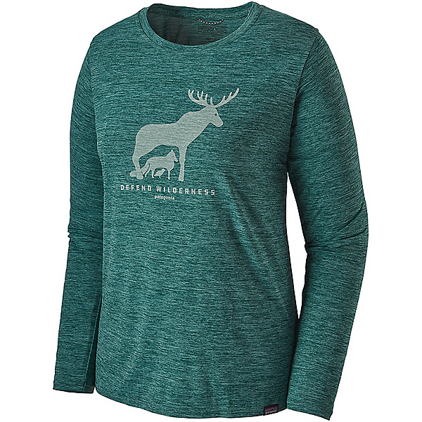 Patagonia L/S Cap Cool Daily Graphic Shirt - Women's - LG/Dfnd Wilderness Piki Grn X Dye, Dfnd Wilderness Piki Grn X Dye, 600