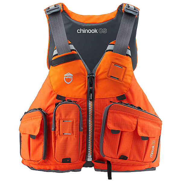 NRS Chinook OS Fishing Offshore Life Jacket - PFD, Orange, 600