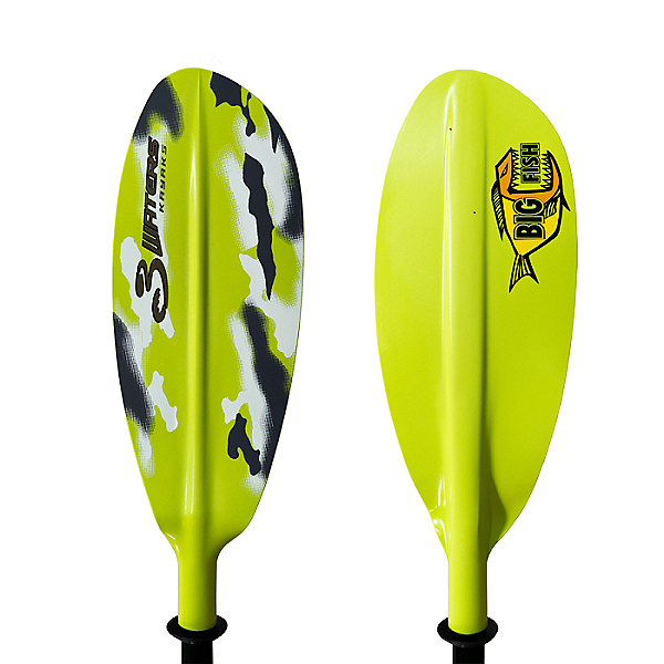 3 Waters Big Fish Alloy 2-Piece Paddle 2021, Green Camo, 600