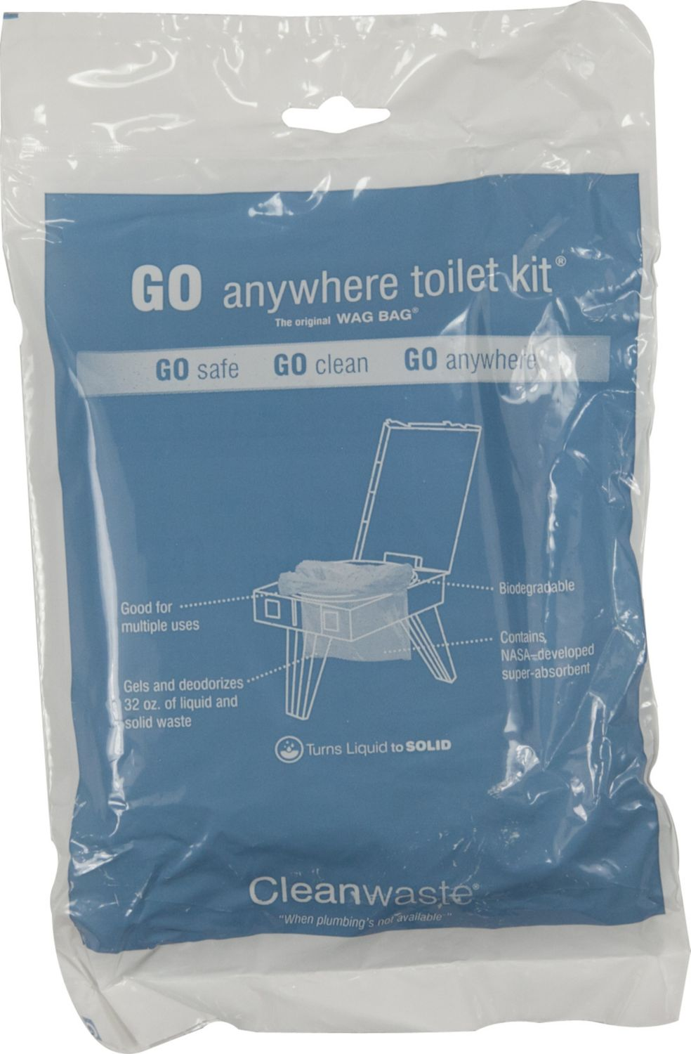 Cleanwaste Go Anywhere Toilet Kit 12 Pack Wag Bag