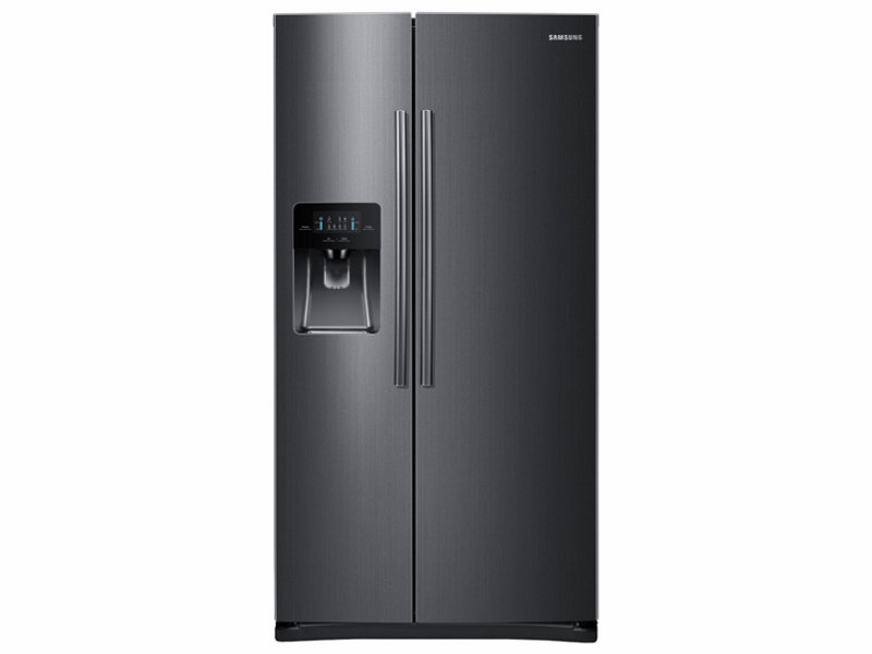 white refrigerator with ice maker. side-by-side refrigerator with in-door ice white maker