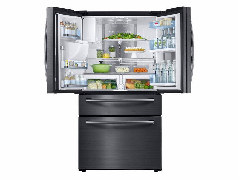 03_Refrigerator_French Door_RF28JBEDBSG_FrontShowcase_Doors_Open With Food_Black?$product details jpg$ 28 cu ft 4 door french door food showcase refrigerator  at bakdesigns.co