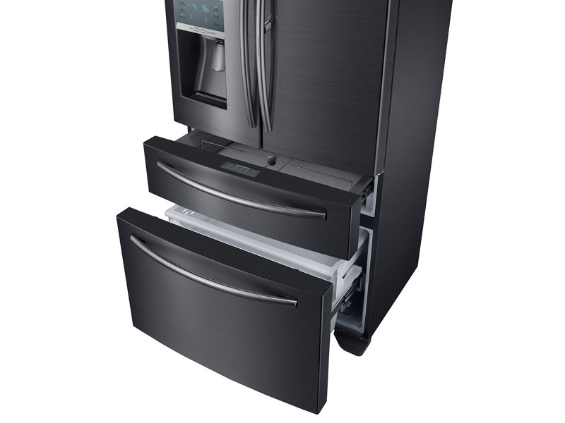 10_Refrigerator_French-Door_RF22KREDBSG_R-Perspective_Freezer-Door_Drawer-Open_Empty-Black