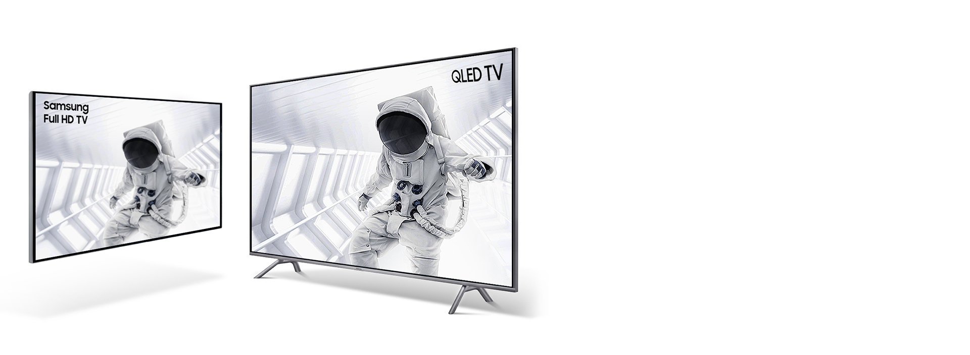 Astronaut images to explain Q HDR. Samsung QLED TV's image on the left. And Other TV's image on the right. Samsung QLED TVs image looks more vibrant and with details than other TV's image. You can see the details of interiors of space ship and spacesuits.