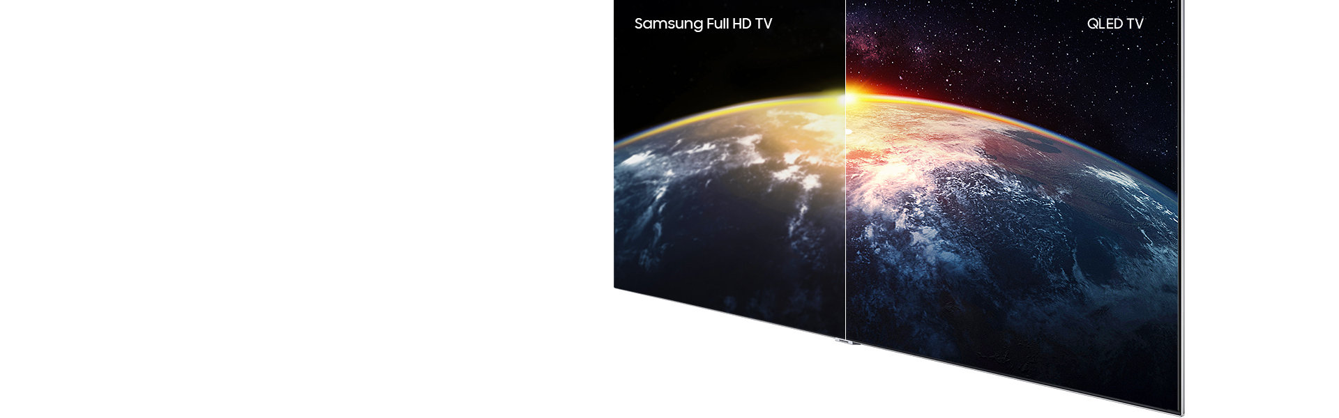 Images of the Earth that the sunlight is lit on in order to to explain Q Contrast. Samsung QLED TV's image on the right appears clearer than that of other TV's on the left.  With Samsung QLED TV, you can see the details on surface of the Earth and the stars in universe.