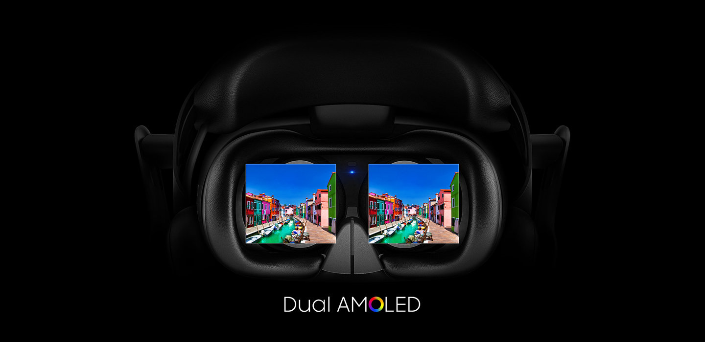 the Dual AMOLED display of Samsung HMD Odyssey MR headset