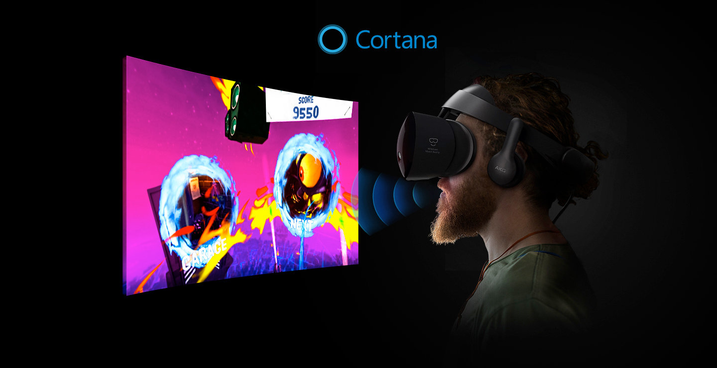 the Samsung HMD Odyssey headset and Cortana interaction