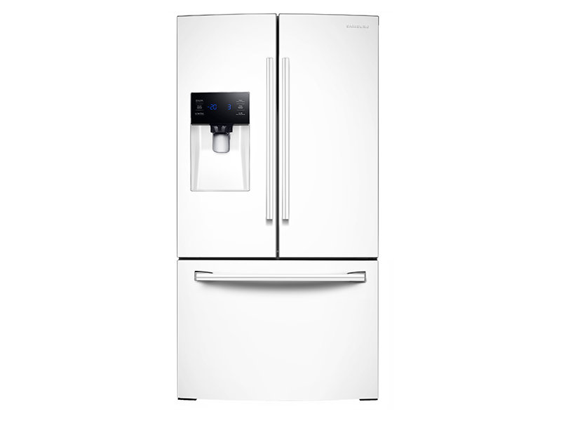 white refrigerator. 25 cu. ft. french door with external water \u0026 ice dispenser white refrigerator
