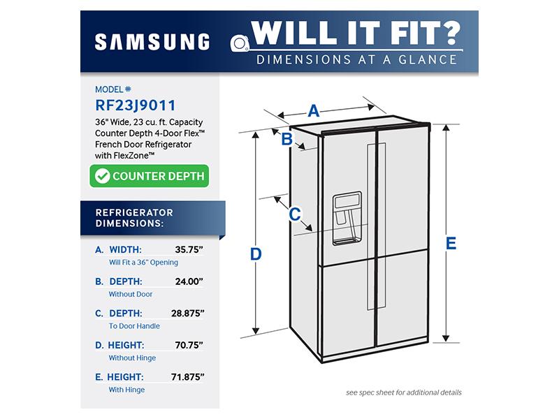 23 Cu Ft Counter Depth 4 Door Flex Refrigerator With
