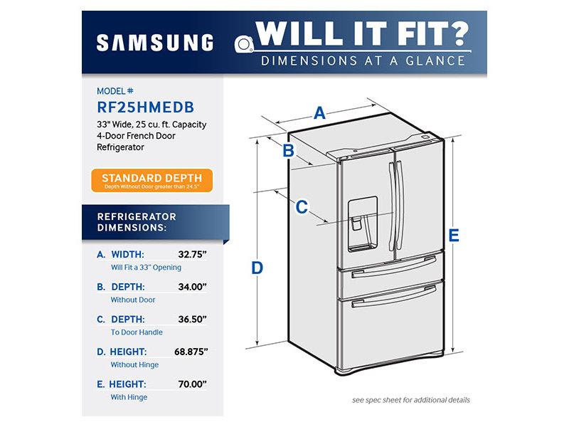 1 Cubic Foot Refrigerator 25 cu. ft. 4-Door French Door Refrigerator Refrigerators ...
