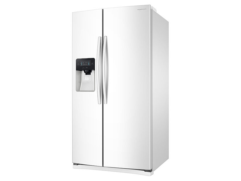 white refrigerator. side-by-side refrigerator with led lighting white