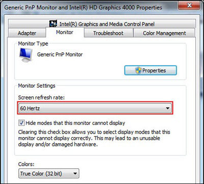 how to change the refresh rate setting in windows 7 for a monitor