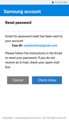 how to change email password on samsung