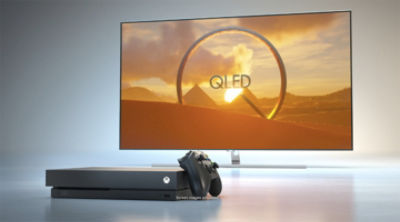 """""""QLED TV is our favorite way to play Xbox One X."""" – Xbox"""