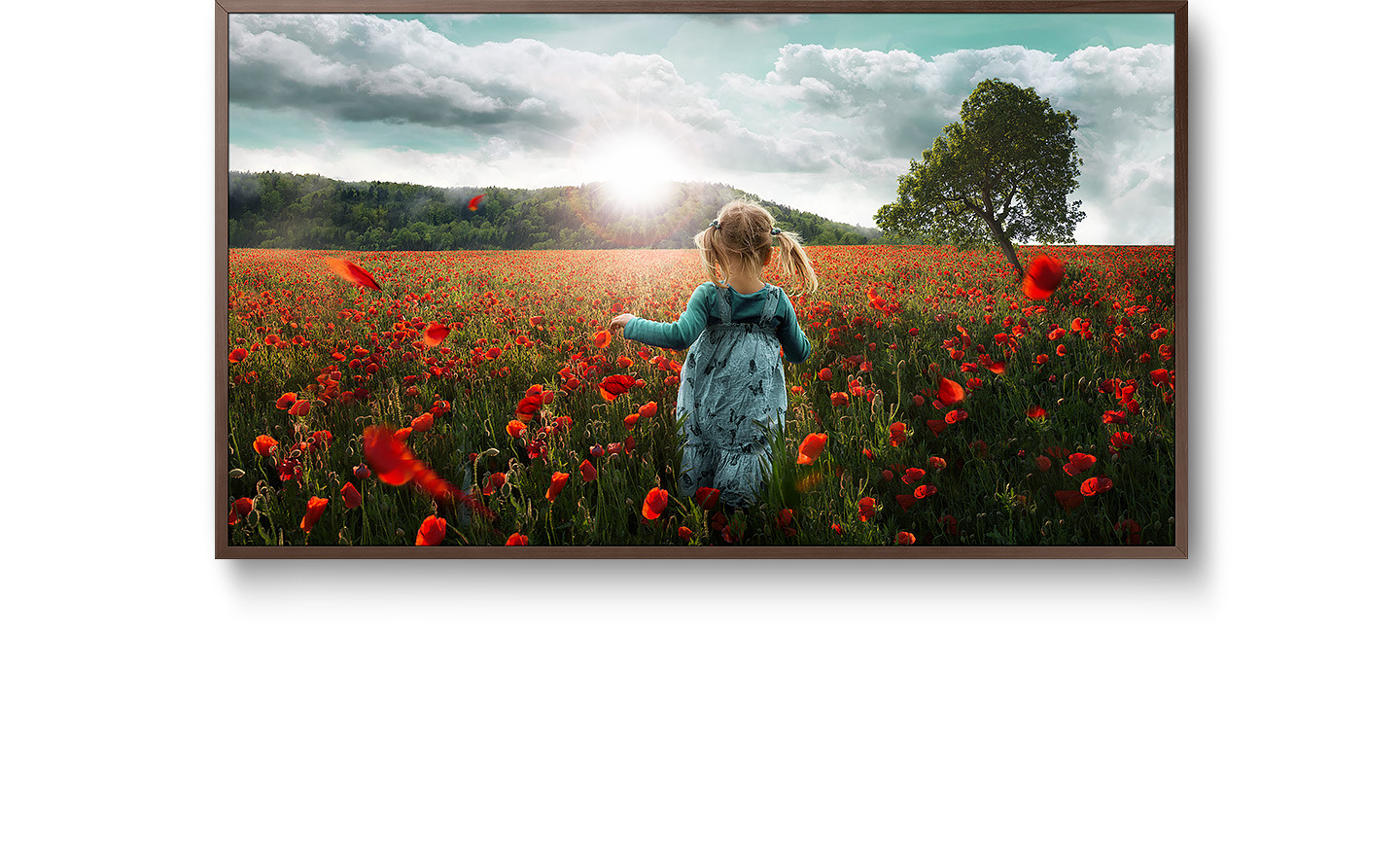 Samsung the frame tv 4k uhd resolution hdr smart tv samsung us samsungs the frame smart tv shows a girl running towards the sun in jeuxipadfo Images