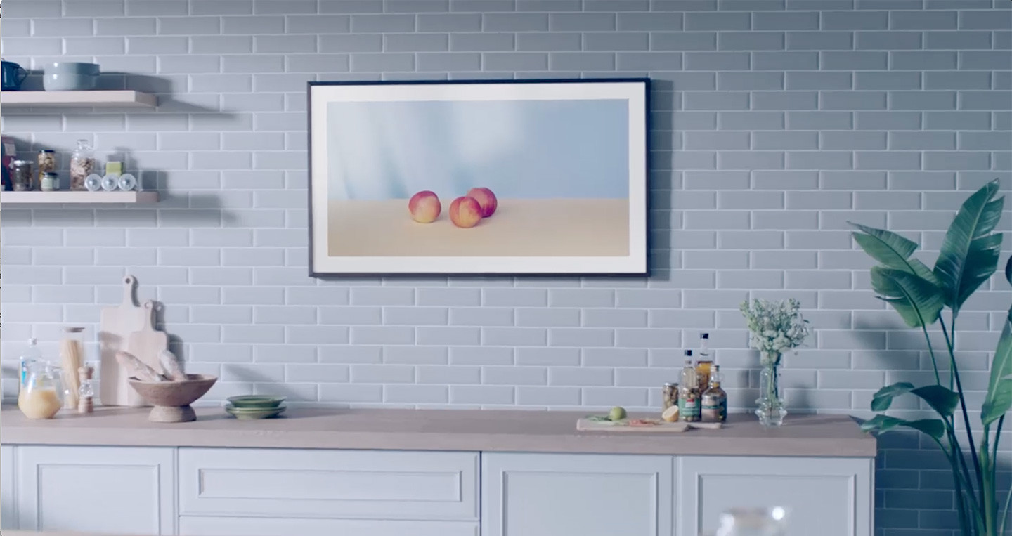 Samsung the frame tv display custom art fully customizable art frame close up of the frame hanging on a wall displaying a painting jeuxipadfo Gallery