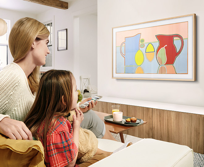 "Family using Samsung's ""The Frame"" at home"