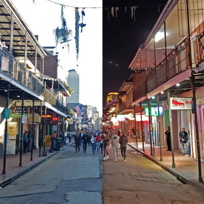 Bourbon Street night time photography and cityscape photography.