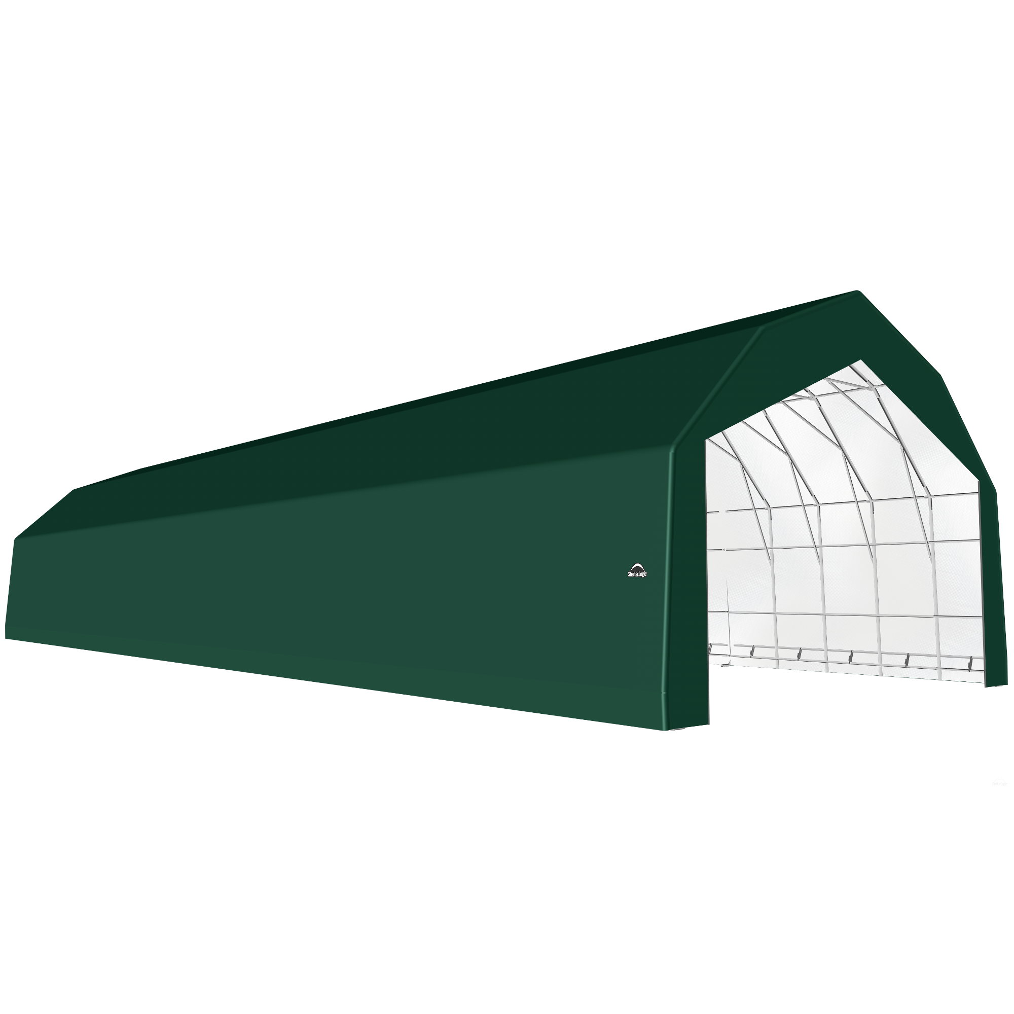 SP Barn 30X100X21 Green 14 oz PE Shelter
