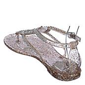 d7bcbec01999 Glaze Womens Bahama-1 clear jeweled jelly flat sandal