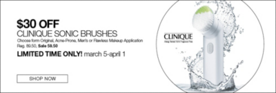 $30 off clinique sonic brushes