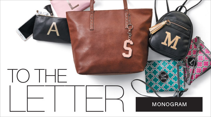 To the letter, shop monogram handbags