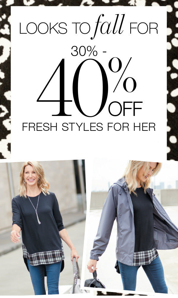30-40% off women's clothing