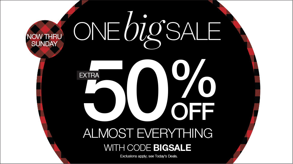 One Big Sale! Extra 50% OFF Almost Everything In Store or Online with code BIGSALE - Exclusions apply